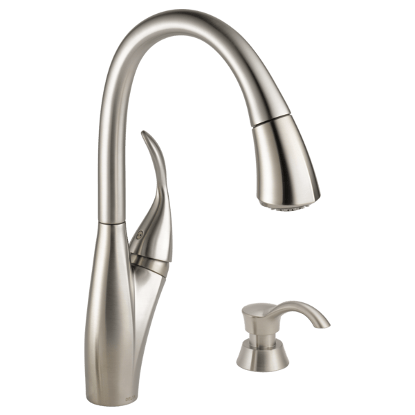 Single Handle Pull Down Kitchen Faucet With Soap Dispenser 19932