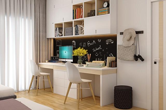 Her iki çocuğun da çalışma alanı fikirleri için kendileri için ayrı çocuklar istediği eviniz için DIY çalışma odası dekoru