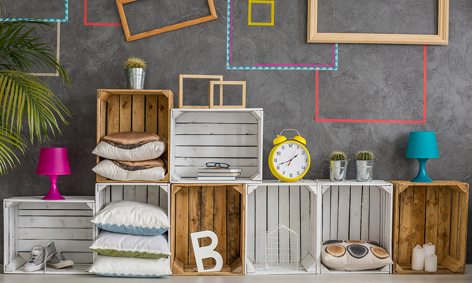 DIY bedroom decor with leftover wood planks turned into blocks look stunning and can give your room a hippie vibe.