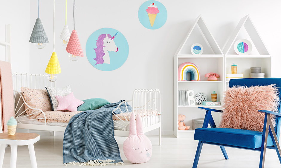 White walls with matching furniture & paintings of yummy icecreams and unicorns are DIY bedroom makeover ideas.