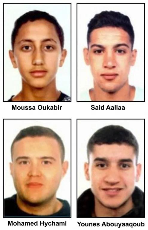SE BUSCAN: De arriba a abajo y de izquierda a derecha: Moussa Oukabir,Said Aallaa,Mohamed Hychami y Younes Abauyaaqoub. Las fuerzas de seguridad buscan, además de a Moussa Oukabir, un joven de 17 años considerado como presunto autor del atentado en La Rambla de Barcelona, y a esos tres más por si tuvieran alguna relación con esta masacre y la acción terrorista de Cambrils (Tarragona) y, en algún caso, para controlarlos.Así lo han manifestado Efe fuentes policiales, que han insistido en la hipótesis de que Oukabir fuera el autor del atropello con una furgoneta que causó la muerte de 14 personas y heridas a casi un centenar.