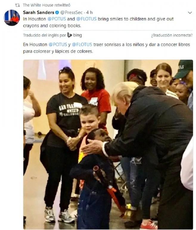 Captura de pantalla del tuit que promovió la secretaría de Prensa de la administración Trump sobre su visita a los damnificados por el huracán Harvey en Houston.