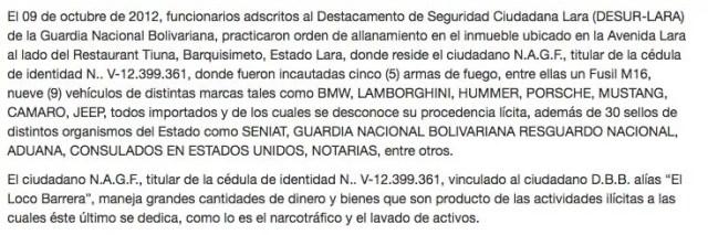 Comunicación de la Fiscalía venezolana.