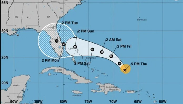 Cono de trayectoria del huracán Dorian, según reporte del jueves 29 de agosto a las 5 pm.