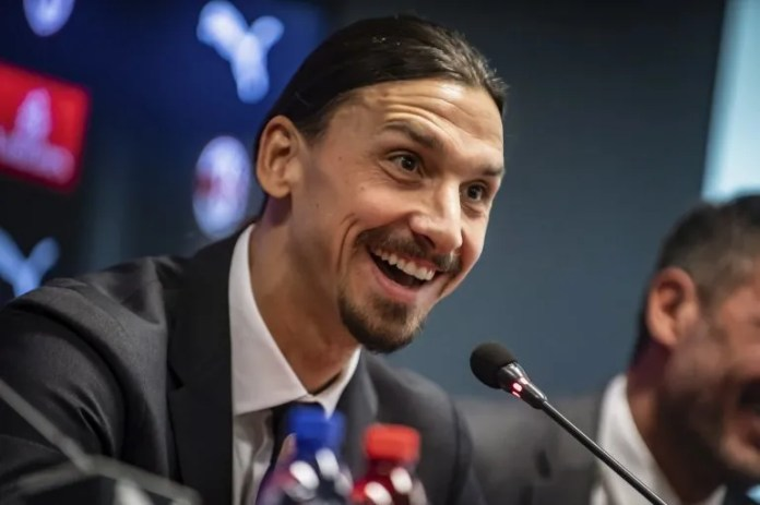 Zlatan Ibrahimovic speaks with reporters at a press conference at the headquarters of the Milan club on Friday, January 3, 2020. The scorer of 38 years was introduced after signing a contract with the team until the end of the campaign.