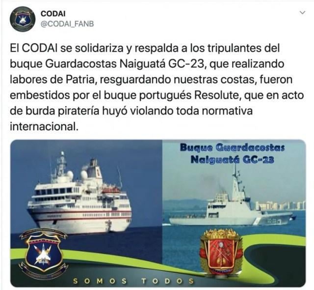 Buque Guardacostas Naiguatá GC-23 embestido por el buque portugués Resolute.