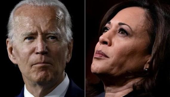 El aspirante demócrata a la presidencia de EEUU, Joe Biden, y su compañera de fórmula, la senadora Kamala Harris.