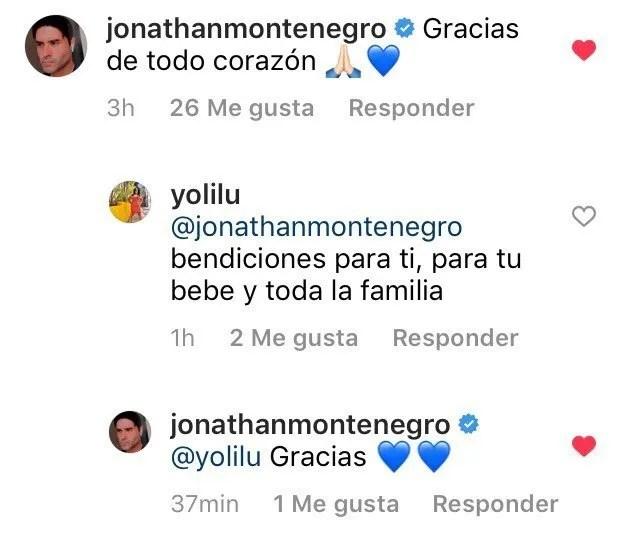 Jonathan Montenegro respondió algunos mensajes de felicitación en Instagram.