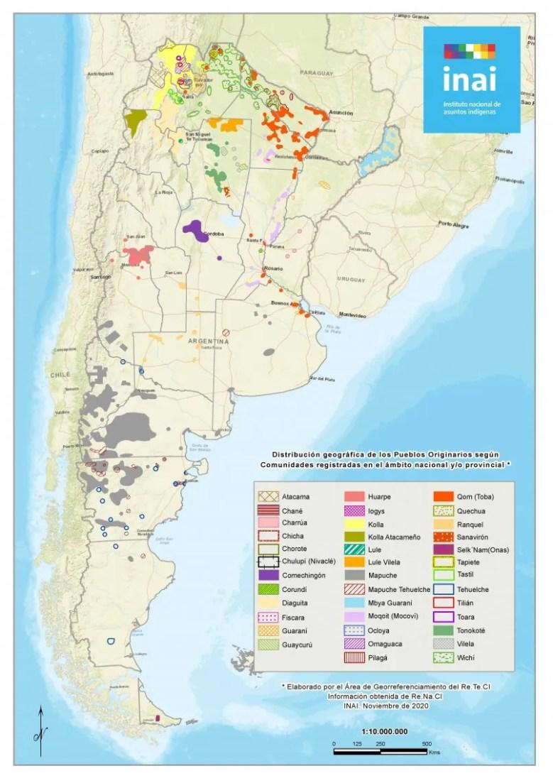 La distribución geográfica de los pueblos indígenas en nuestro país.