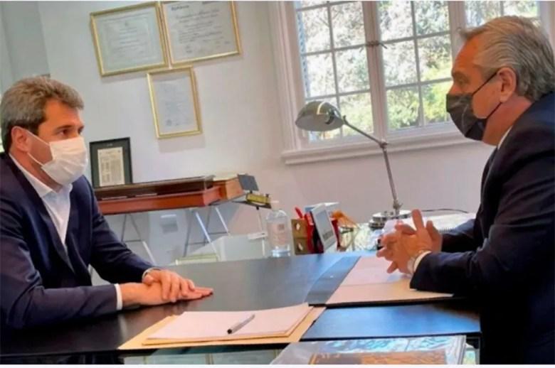 Alberto Fernández recibió hoy en Olivos la visita del gobernador de San Juan Sergio Uñac. Foto: Presidencia.