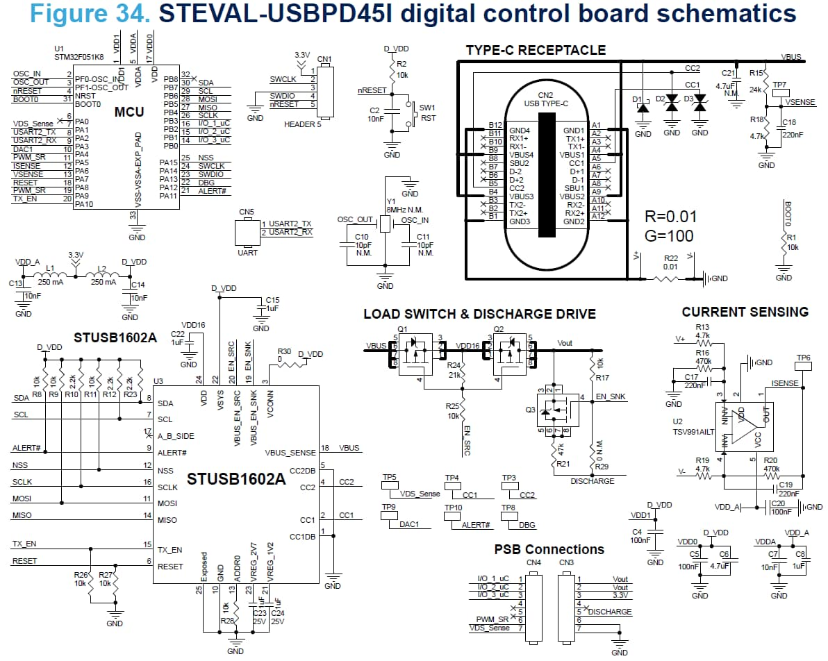 Steval Usbpd45c 45w Usb Type C 90 264v In