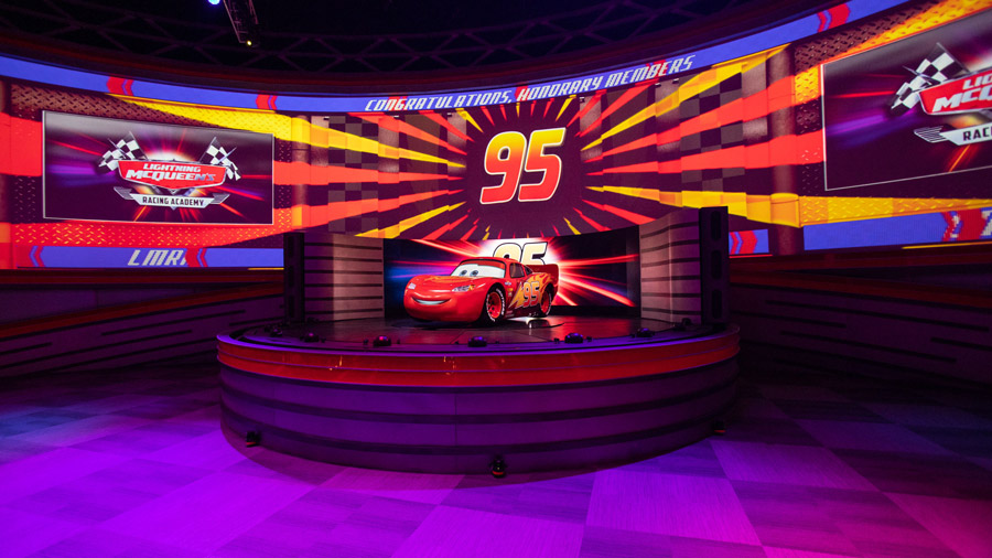Lightning McQueen on stage for Lightning McQueen's Racing Academy