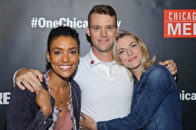 Foster (Annie Ilonzeh) and her castmates from Chicago Fire