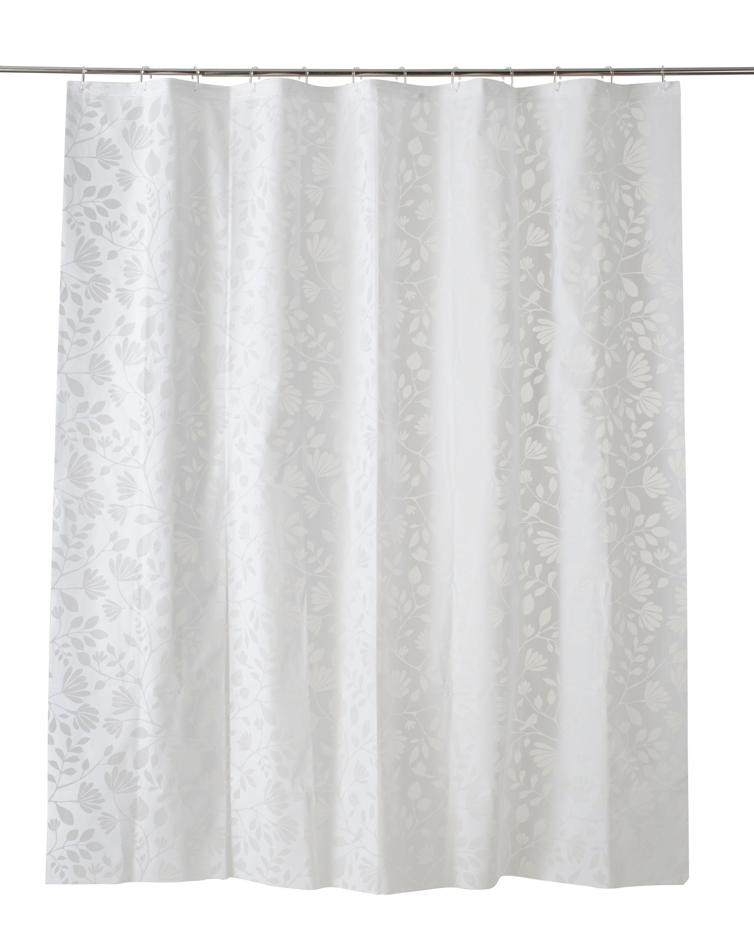 cooke lewis ledava white silver leaf shower curtain l 1800mm