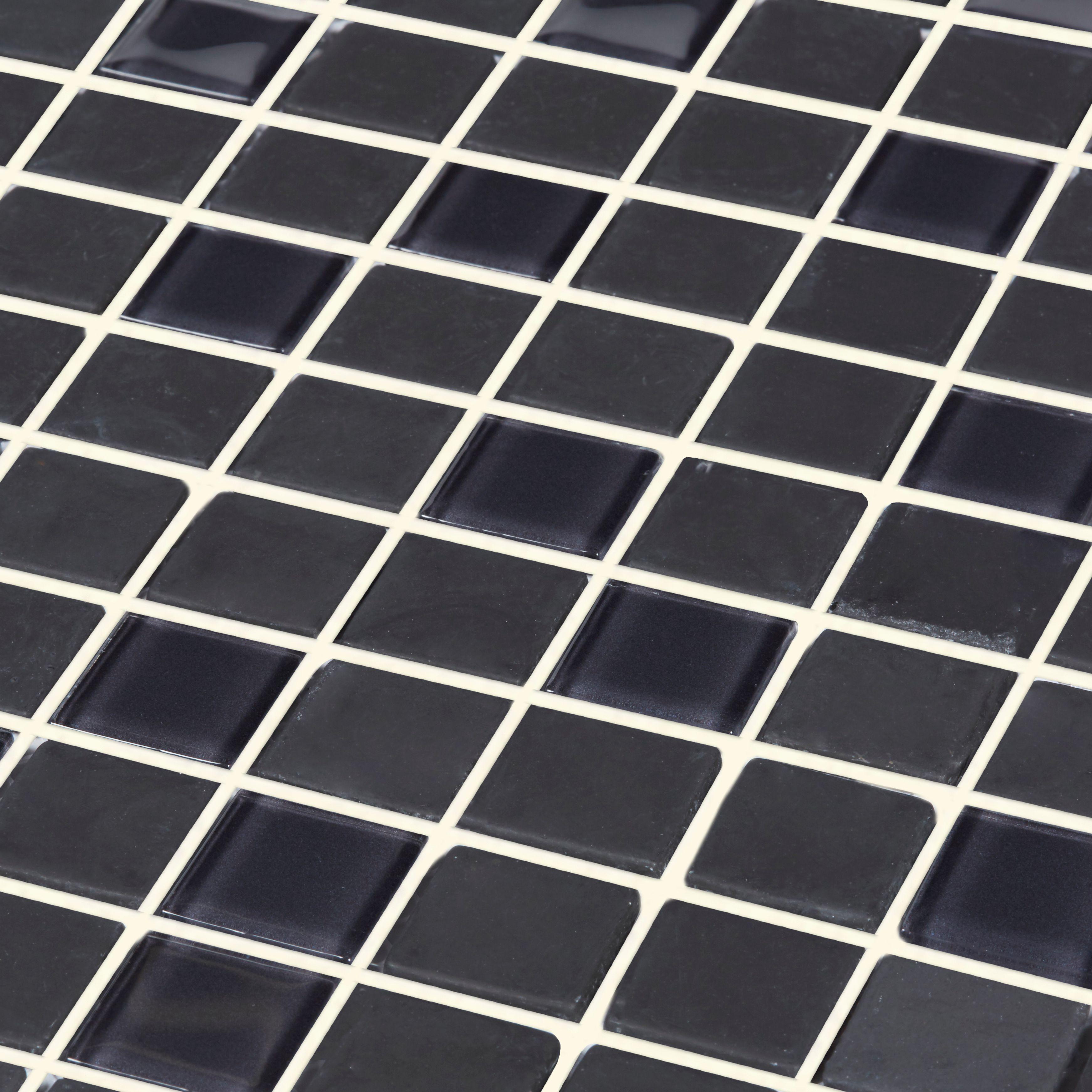 genovia black grey glass effect mosaic glass mosaic tile l 295mm w 295mm