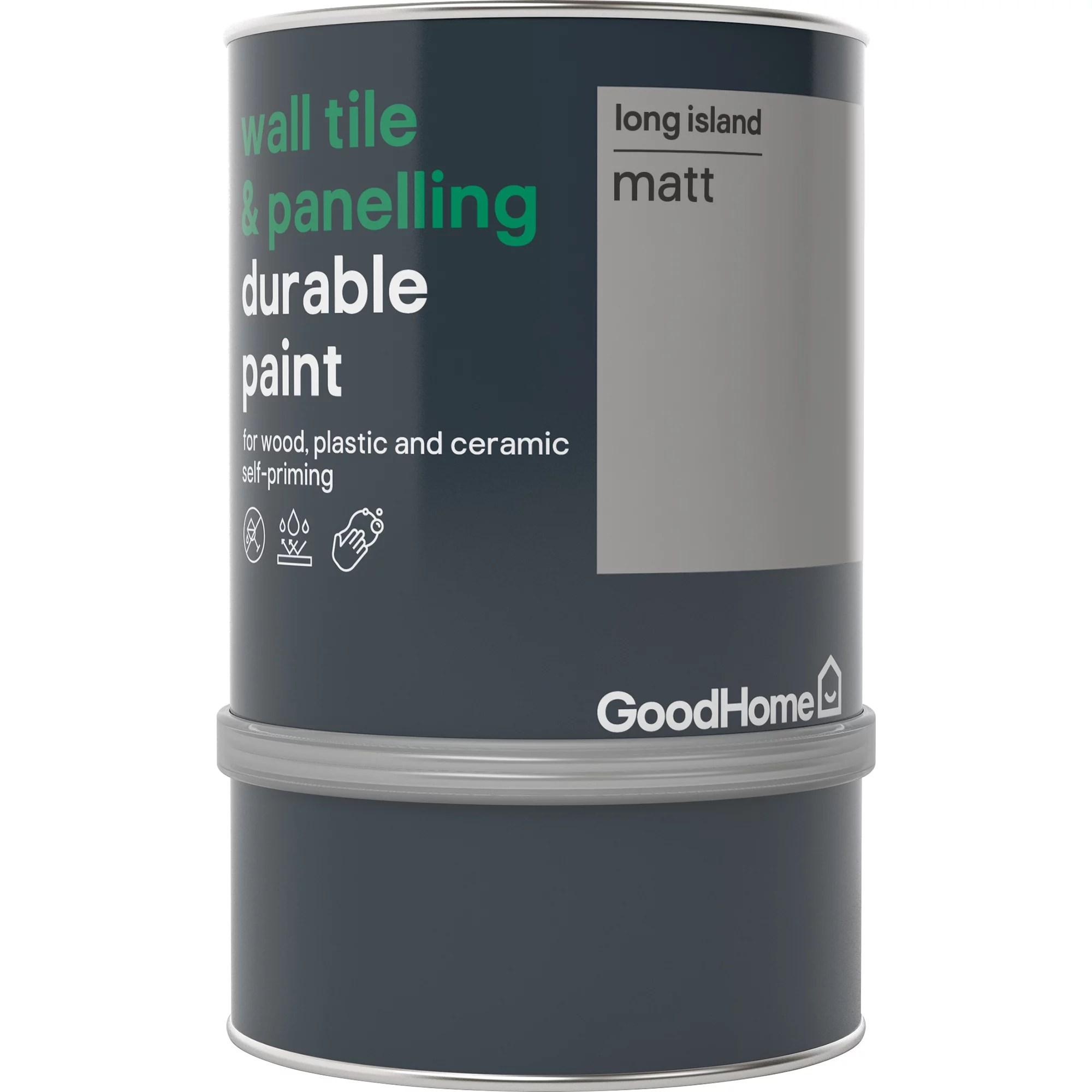 goodhome durable long island matt wall tile panelling paint 750ml