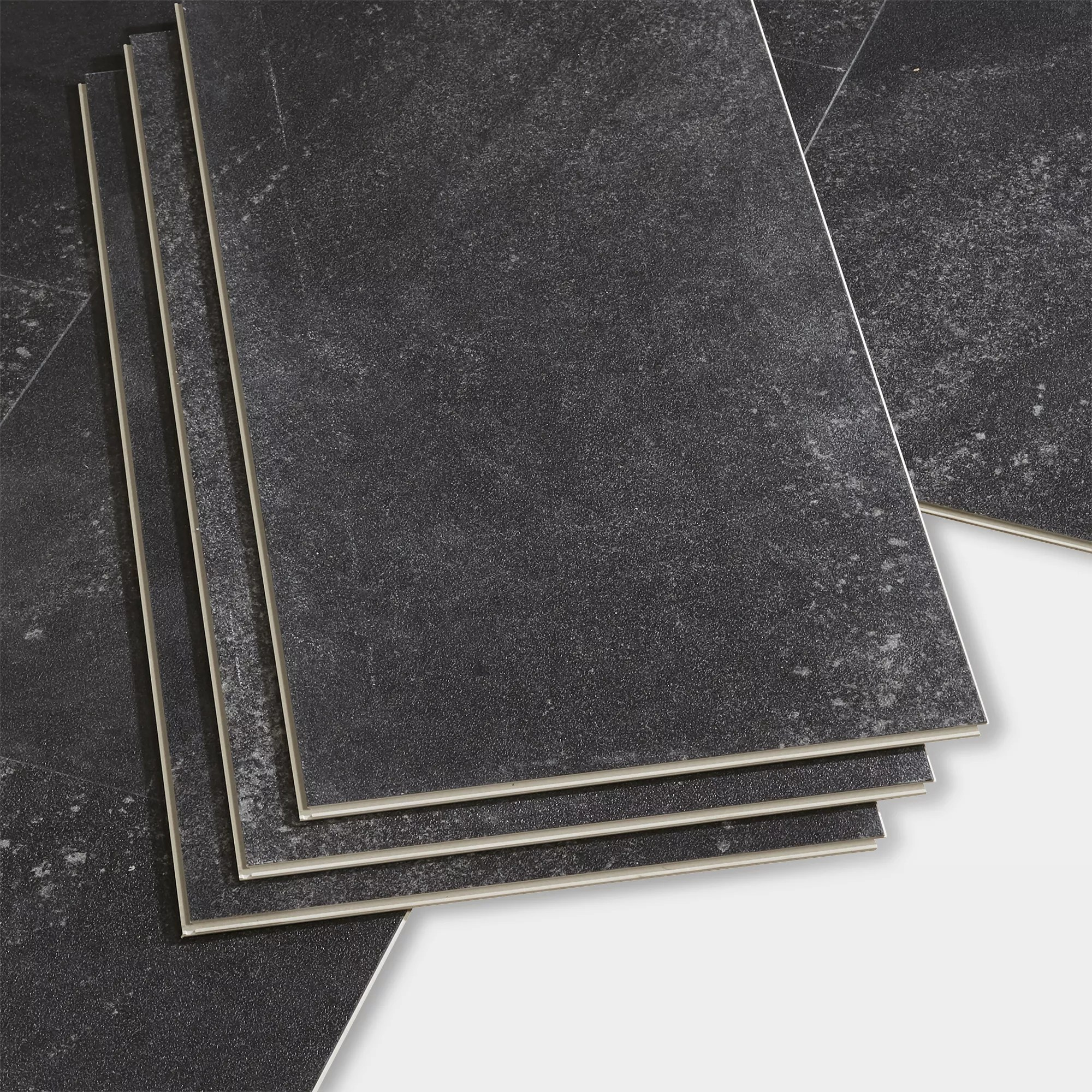 goodhome jazy charcoal tile effect luxury vinyl click flooring 2 23m pack