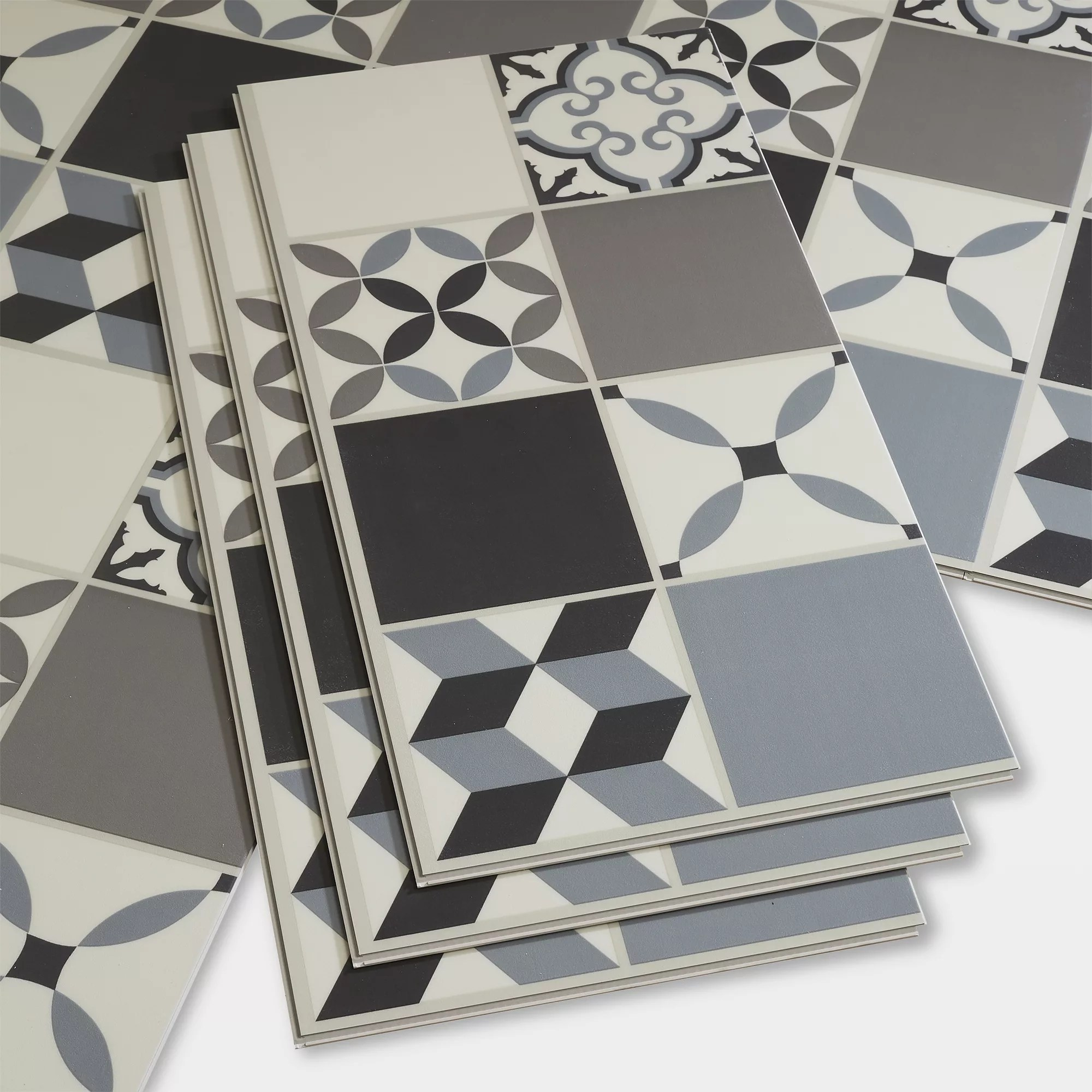 goodhome jazy grey mosaic effect luxury vinyl click flooring 2 23m pack