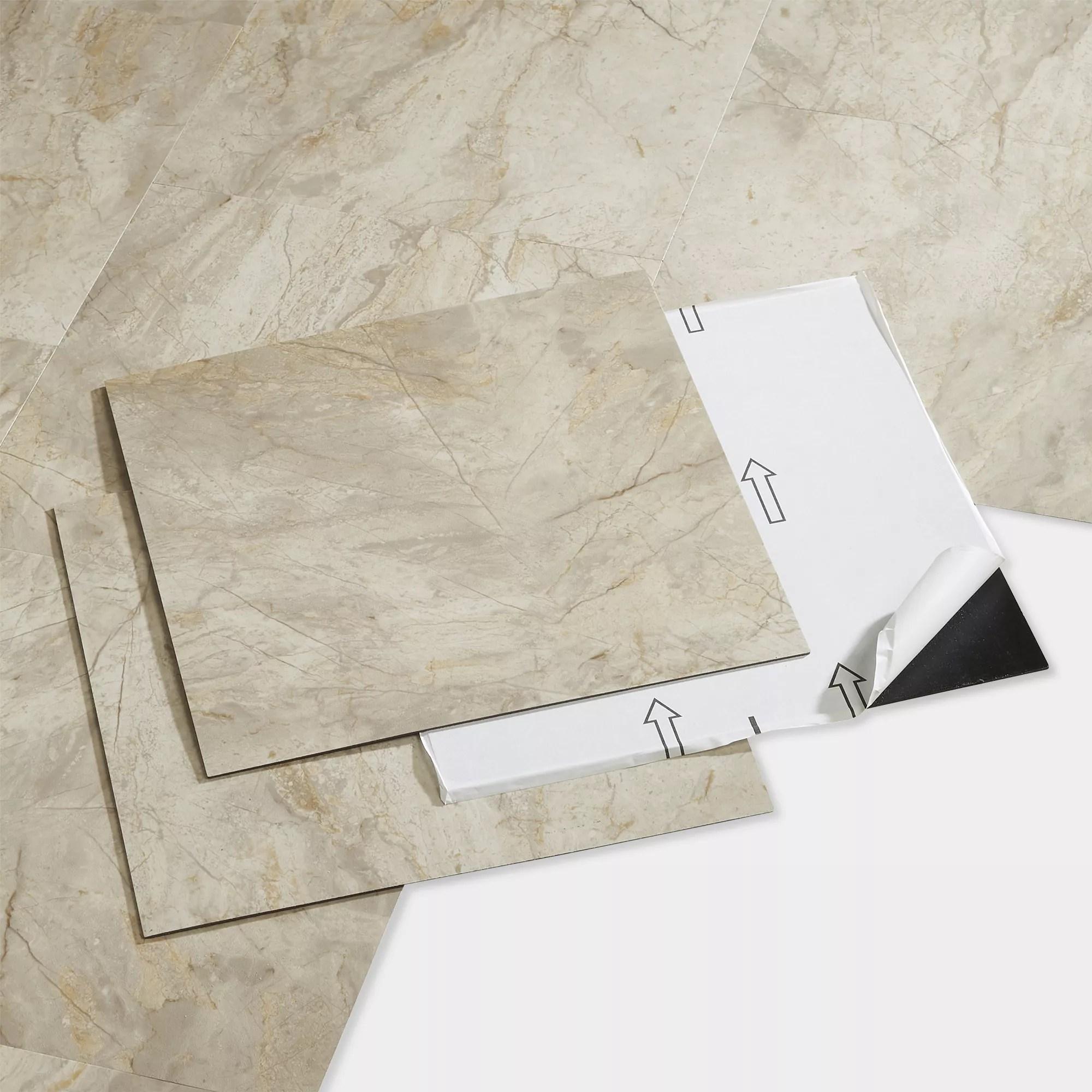goodhome poprock beige tile marble effect self adhesive vinyl tile pack of 14