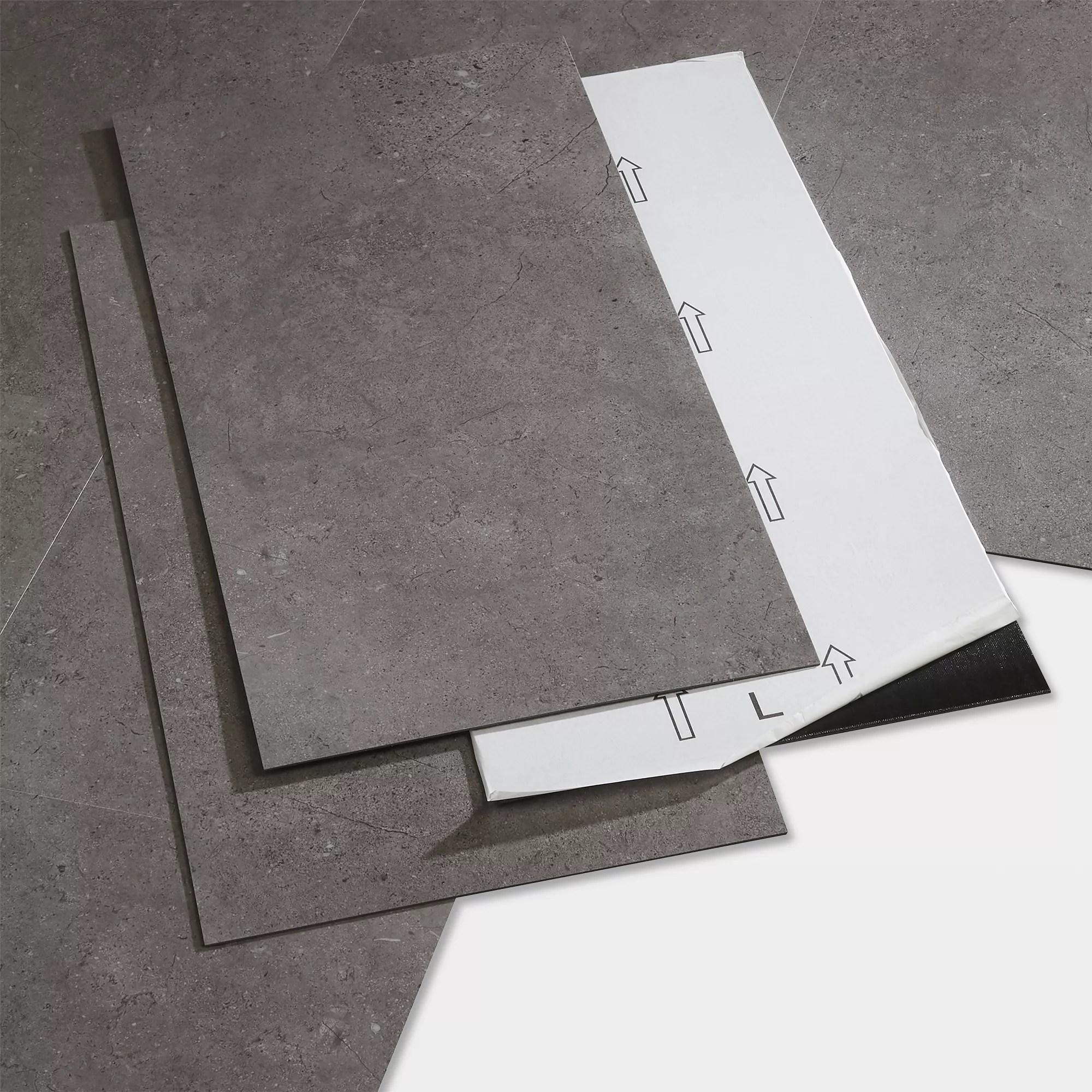goodhome poprock grey tile stone effect self adhesive vinyl tile pack of 7