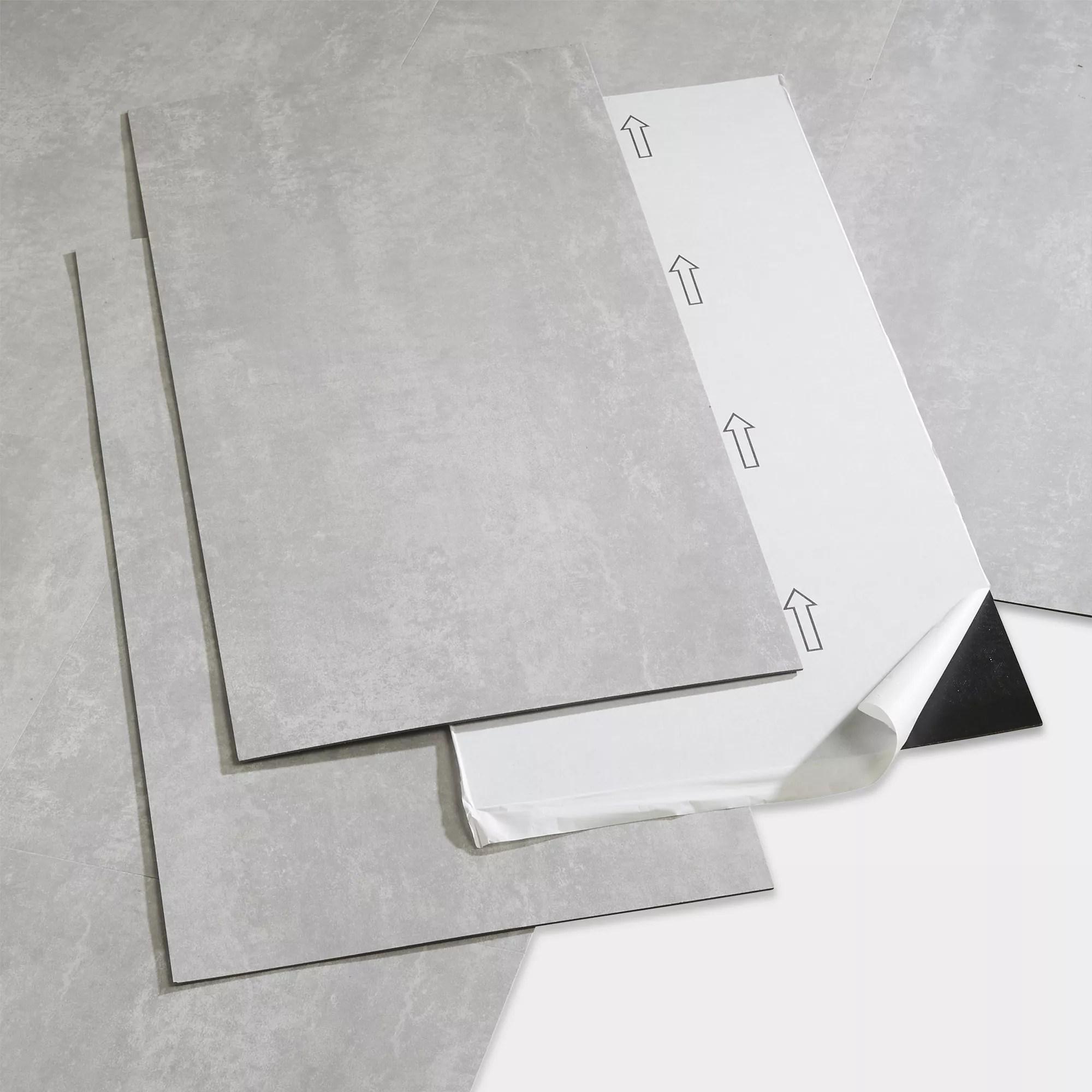 goodhome poprock light grey tile stone effect self adhesive vinyl tile pack of 7
