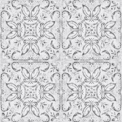 graham brown white tin tile metallic effect wallpaper