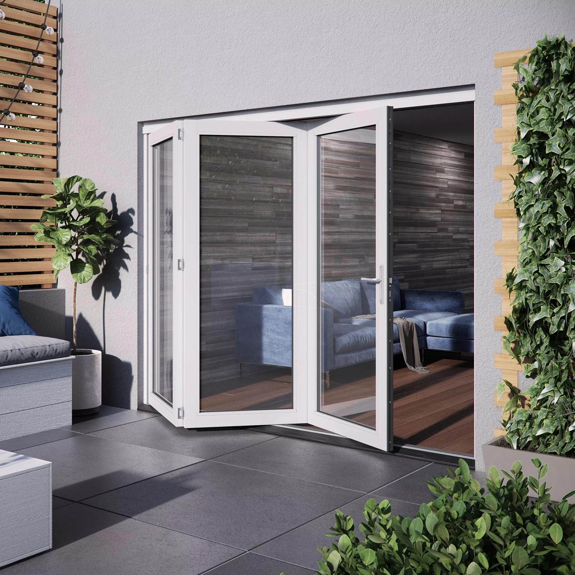 jeld wen bedgebury clear glazed white hardwood reversible external folding patio door set h 2094mm w 1794mm