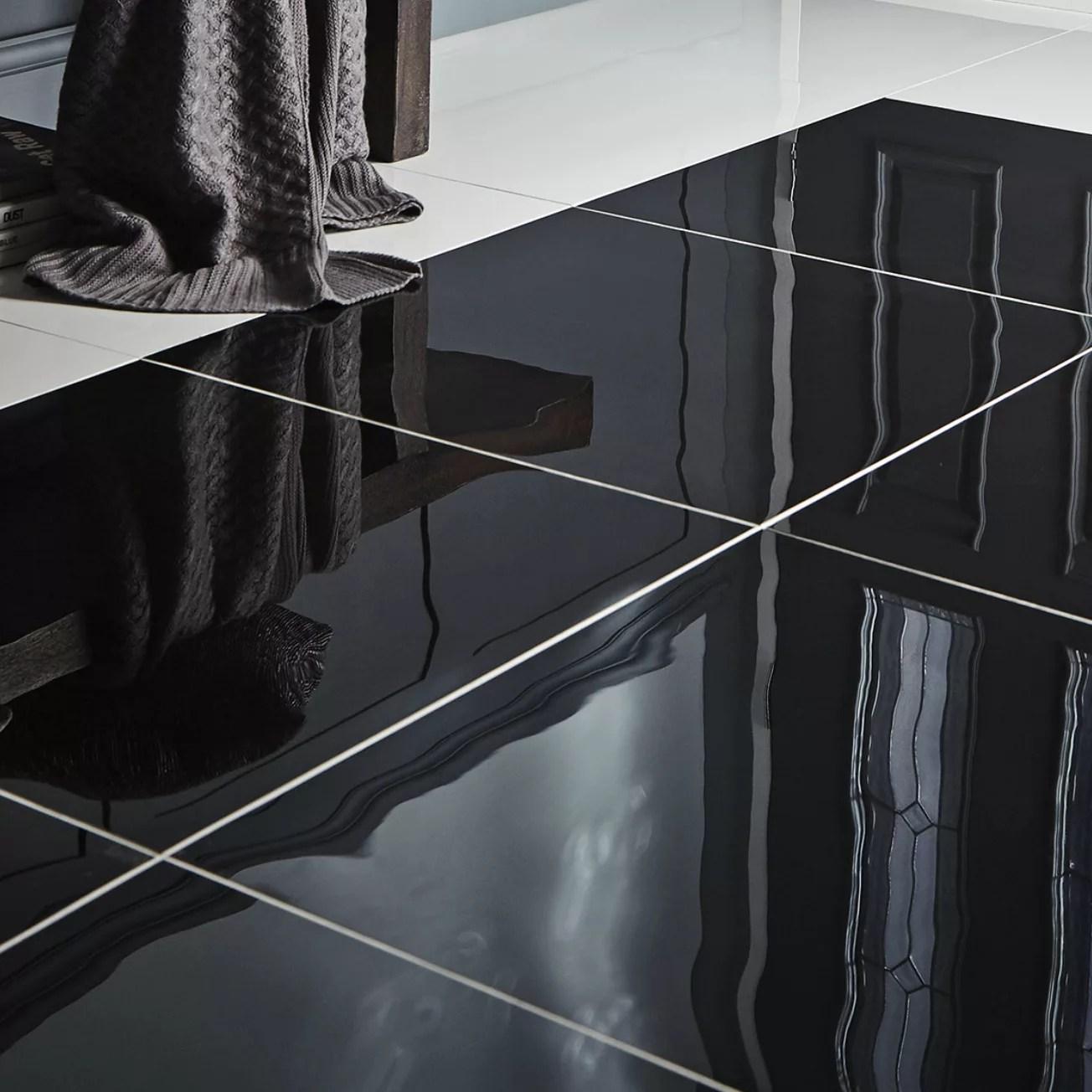 livourne black plain porcelain wall floor tile pack of 3 l 600mm w 600mm