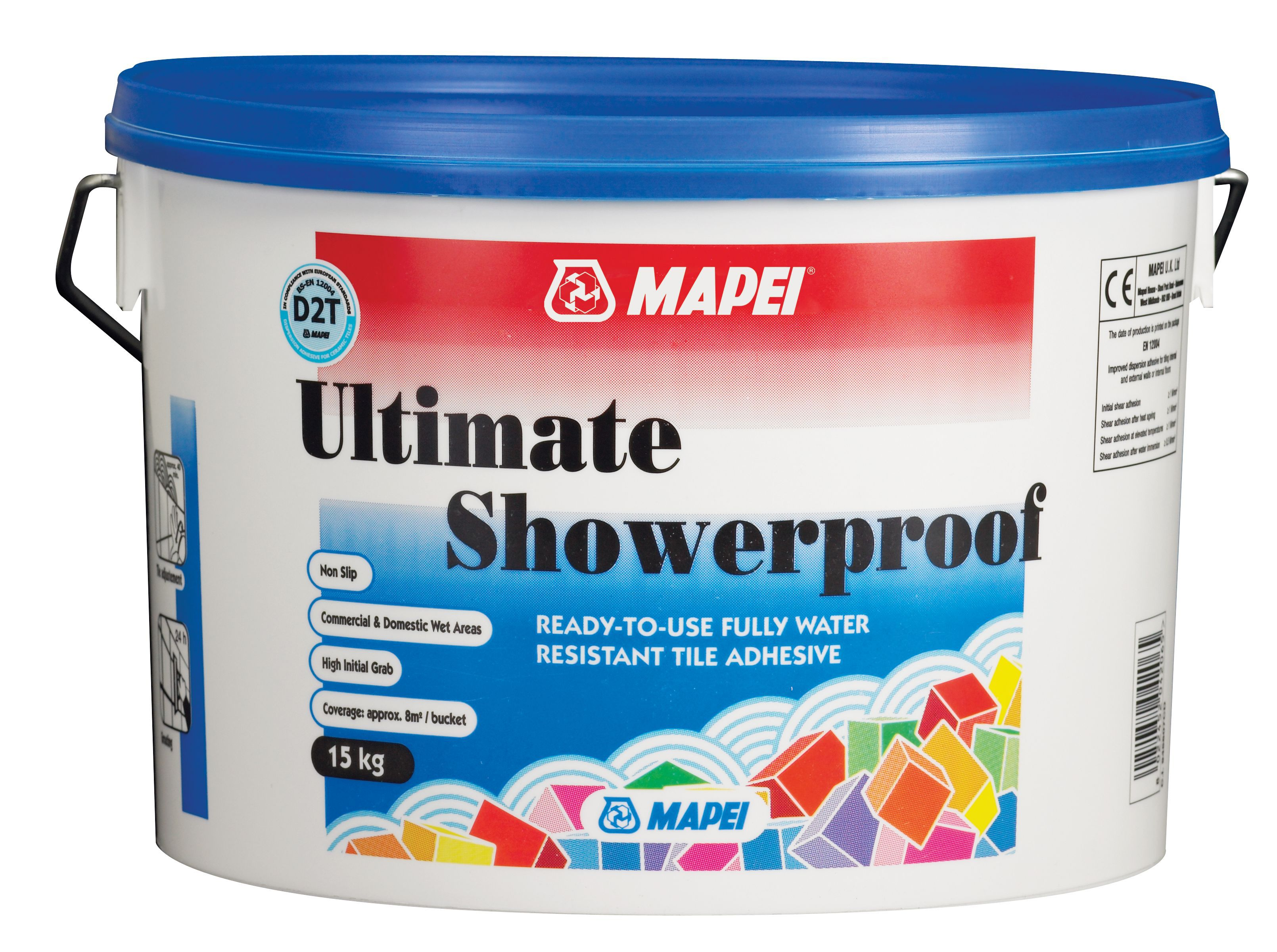 mapei ultimate shower proof ready mixed cream tile adhesive 15kg