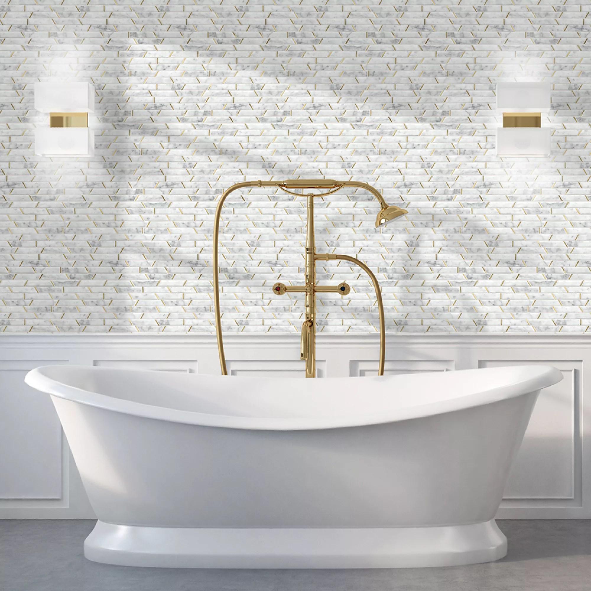 monte carlo white brass effect marble mosaic tile l 300mm w 350mm