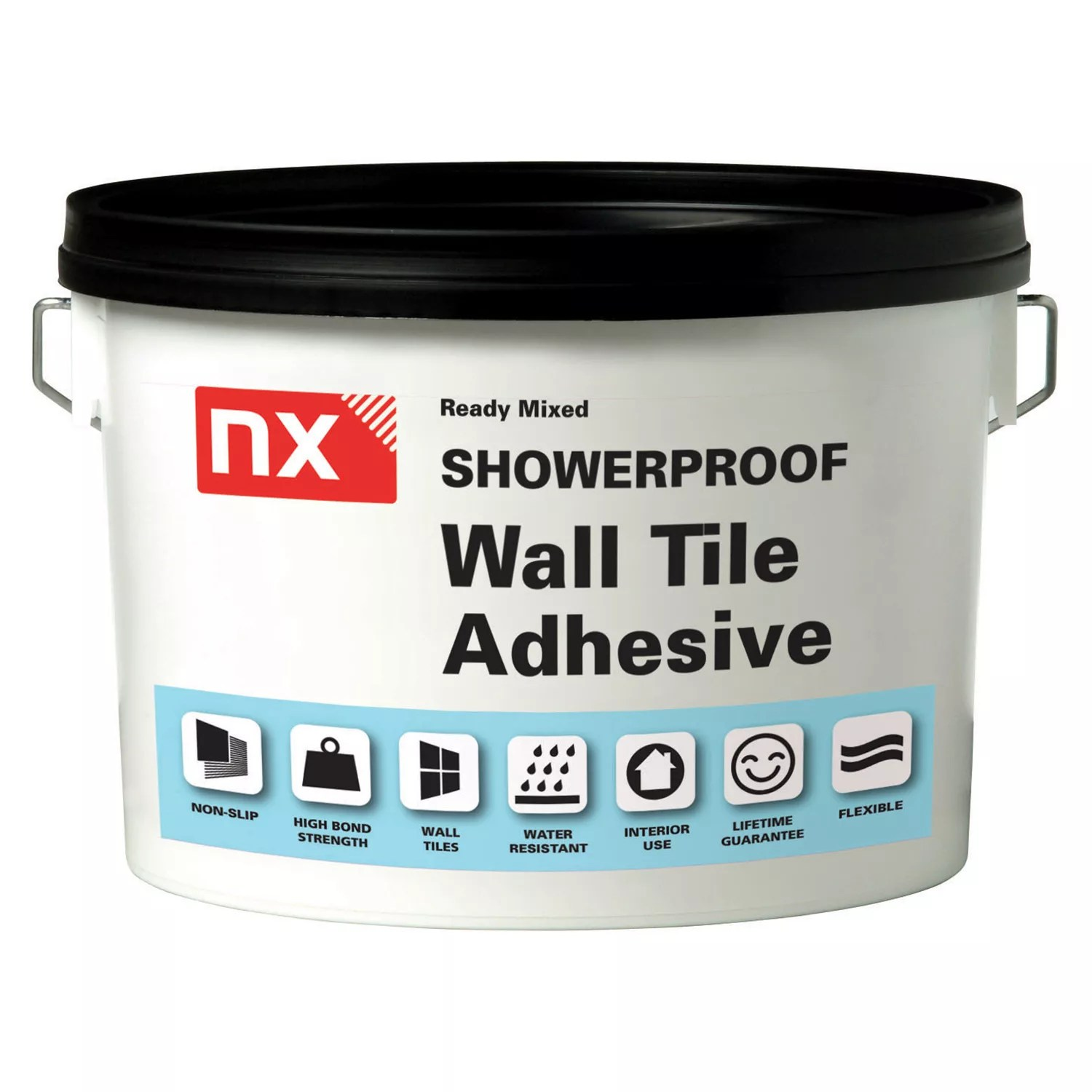 nx showerproof ready mixed bright white tile adhesive 15kg