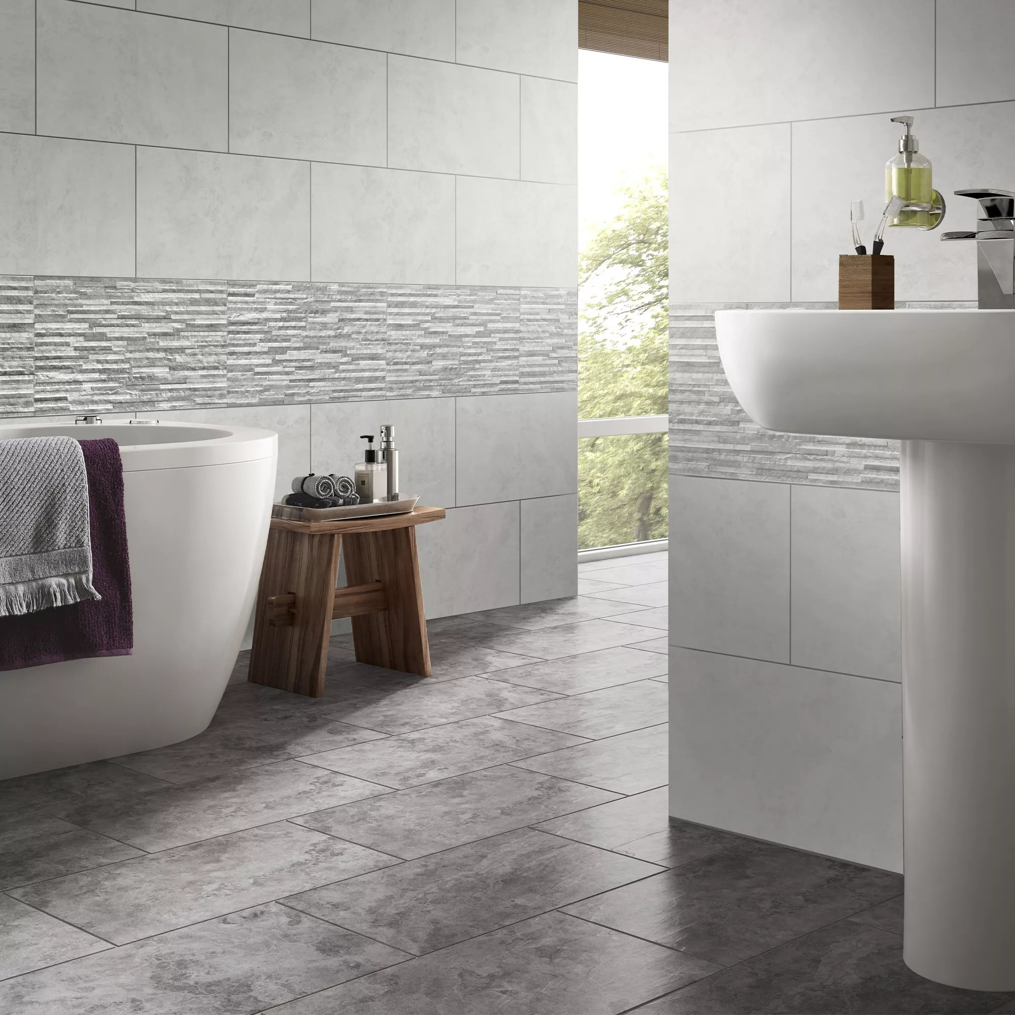 oscano grey mix matt splitface stone effect ceramic wall tile pack of 6 l 300mm w 600mm