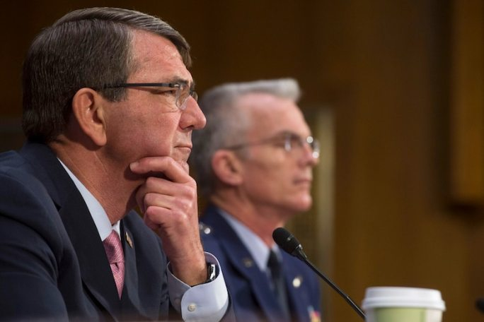 Defense Secretary Ash Carter, front, and Air Force Gen. Paul J. Selva, vice chairman of the Joint Chiefs of Staff, testify on the strategy to counter the Islamic State of Iraq and the Levant before the U.S. Senate Armed Services Committee in Washington, D.C., Dec. 9, 2015. DoD photo by U.S. Navy Petty Officer 1st Class Tim D. Godbee