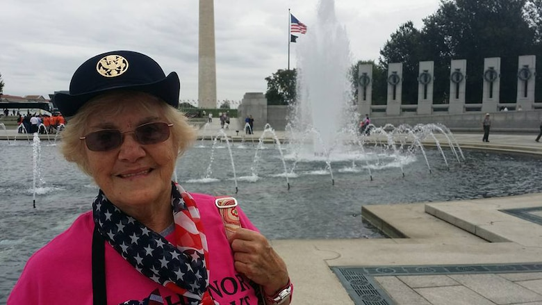 """It's a dream come true,"" Army veteran Sara Abrams said about being a part of the first all-female honor flight. She is seen at the World War II memorial in Washington, D.C., during the one-day tour, Sept. 22, 2015. DoD photo by Lisa Ferdinando"