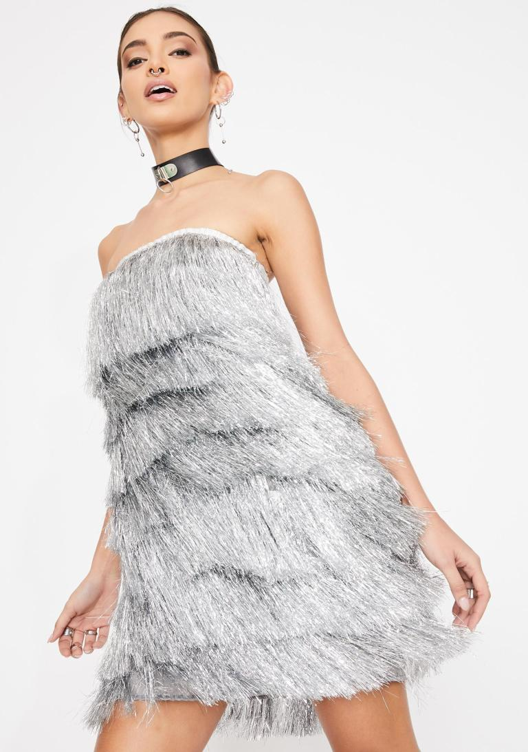 Kiki Riki Fringe Strapless Mini Dress Metallic Flapper Silver ...