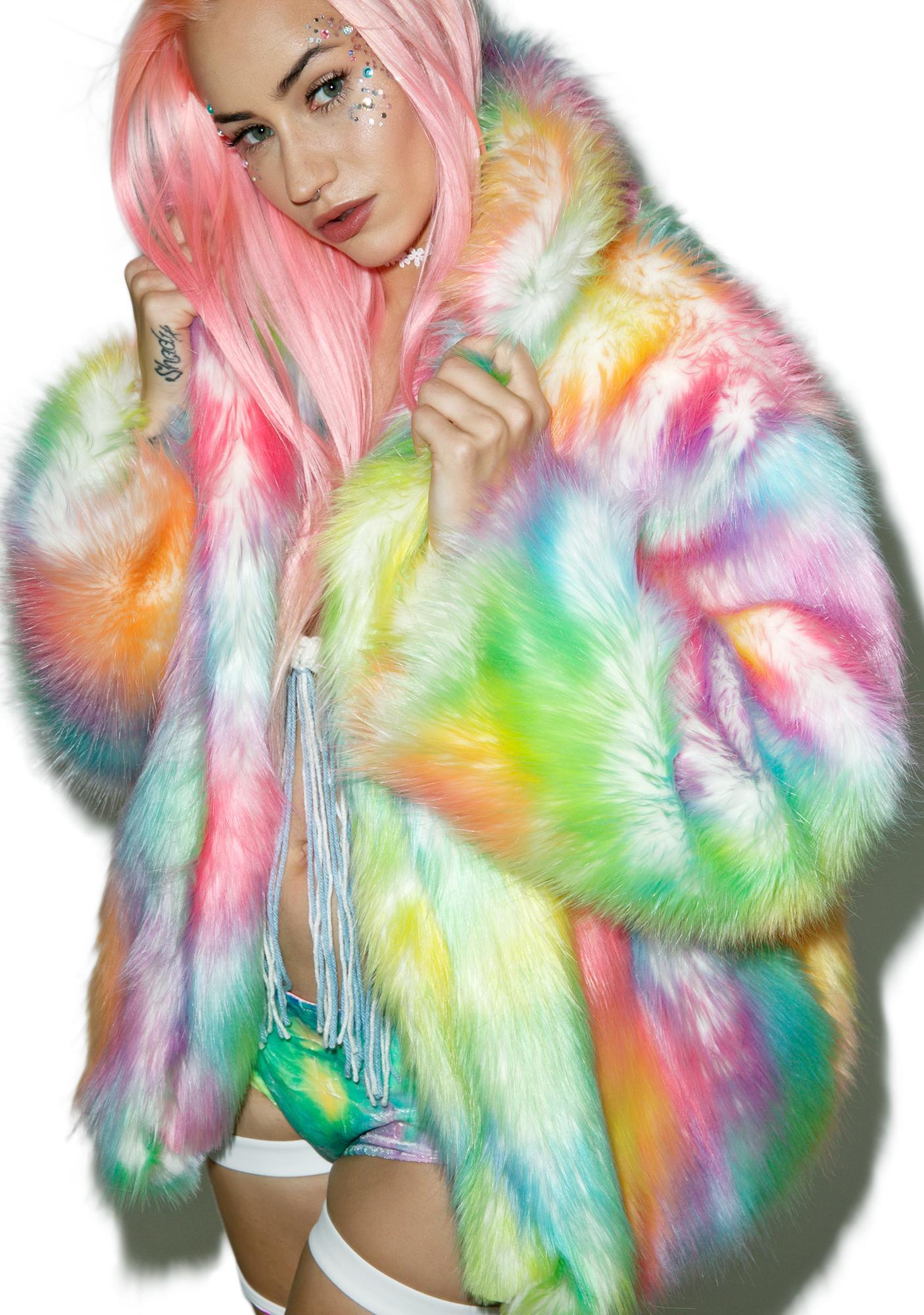 J Valentine Rainbow Flashing Lights Midi Jacket Dolls Kill