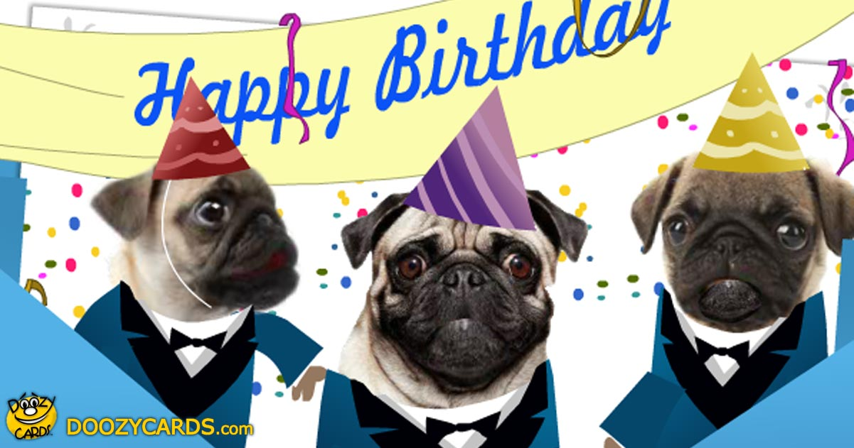 Singing Pugs Birthday ECard View The Popular Singing Pugs