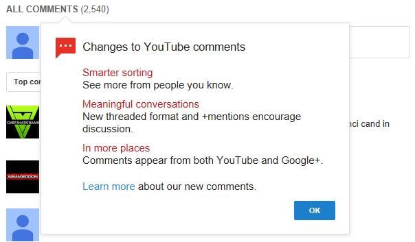 Youtube trece la comentariile cu G+