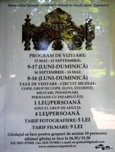 Program de intrare și taxa la Casa lui Eminescu