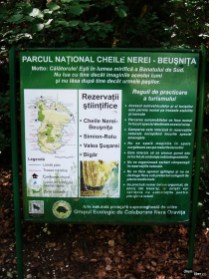 Panou cu informații despre Parcul Național
