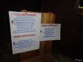 Meniul restaurantului din salină