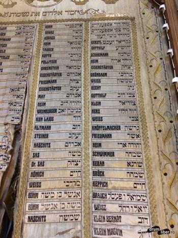 Lista cu rabini sau cu cei care au avut în grijă sinagoga