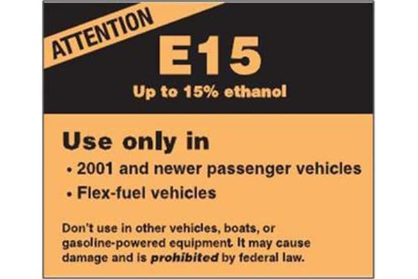 E15 Warning Label Picture