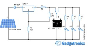 Solar powered LED light circuit | Electronics Infoline