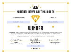 Winner National Novel Winner Month