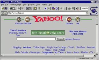 Evo kako je Yahoo izgledao u to vreme, tada najpopularniji pretraživač