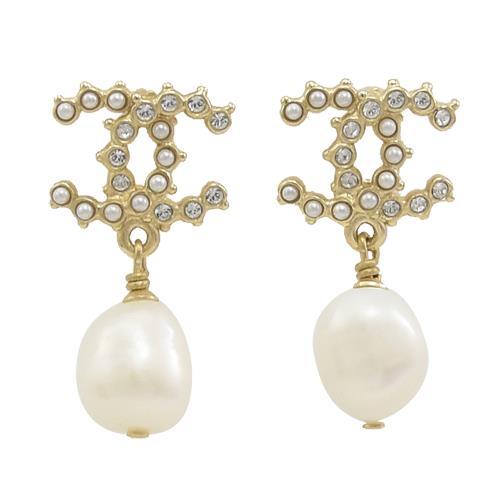 CHANEL AB4824 水鑽鑲嵌雙C LOGO珠珠垂飾耳環.香檳金