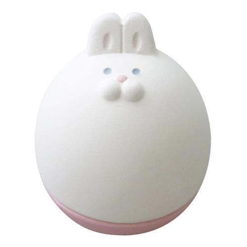 【DECOLE】日本開運不倒翁陶偶薰香石-白兔