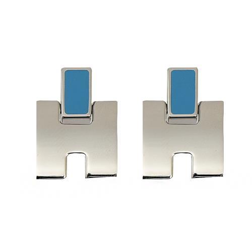 HERMES Eileen 經典H LOGO銀飾耳環.銀/天堂藍