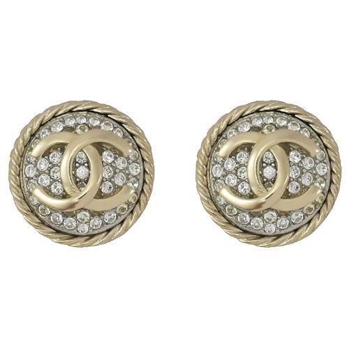 CHANEL AB5625 雙C LOGO水鑽圓形耳環.淡金